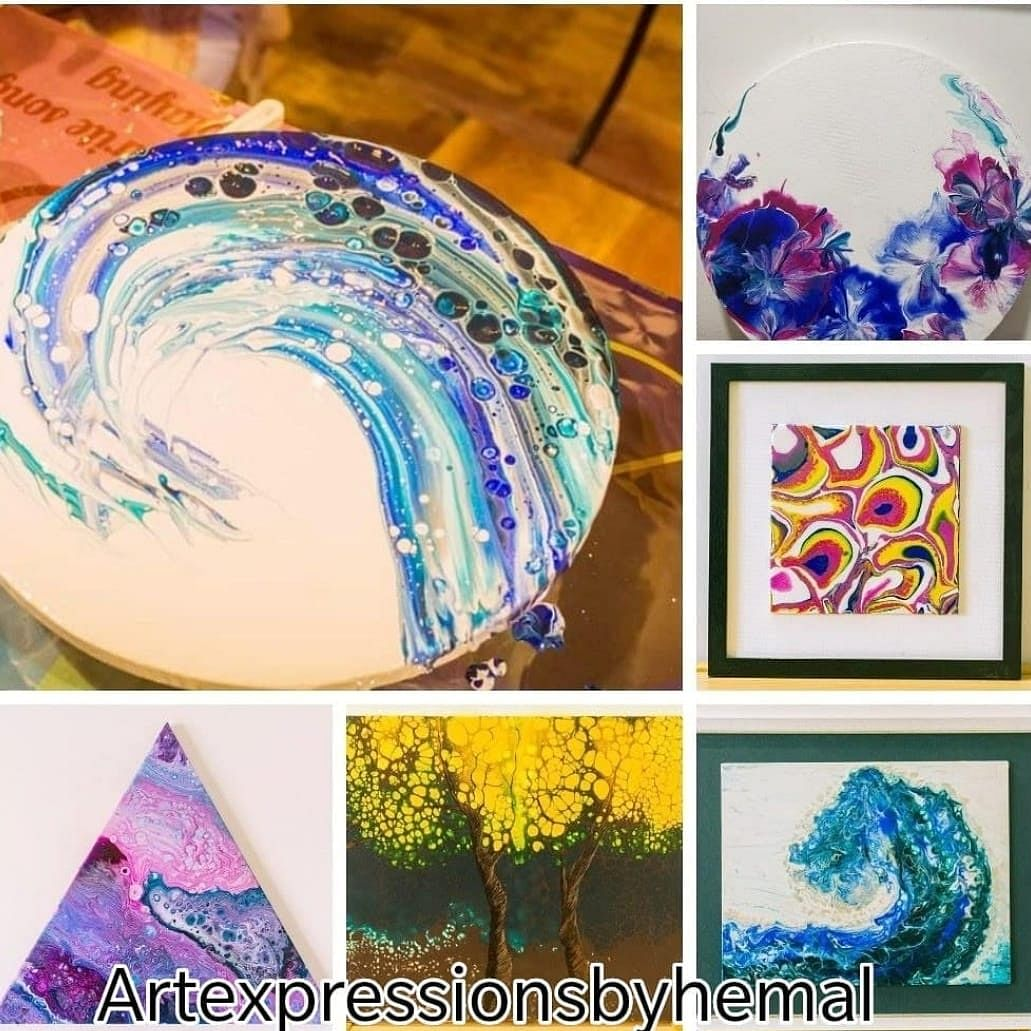 Samples of Hemal's fluid and resin art
