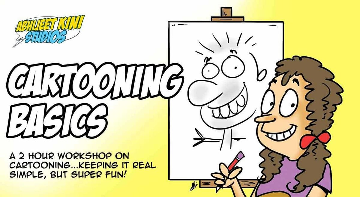 A poster for a cartooning workshop conducted by Abhijeet Kini