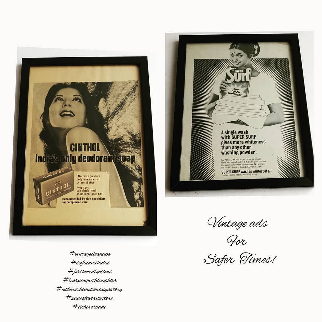 Vintage advertisments framed and sold by Either Or