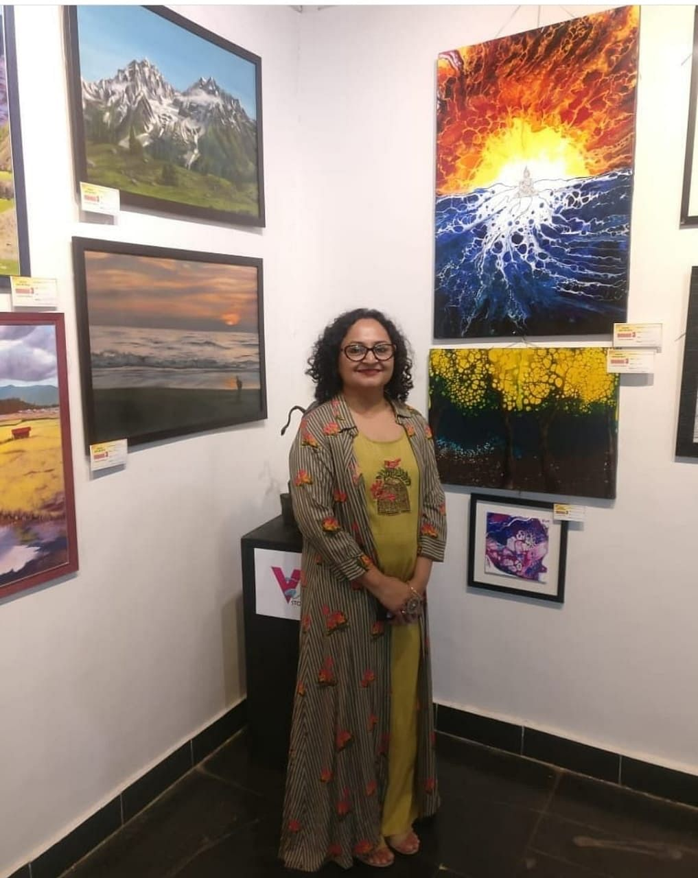 Hemal Chandaria with her art on display at an exhibition