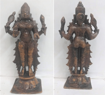 Bronze statue of Himavanti, front and rear view.