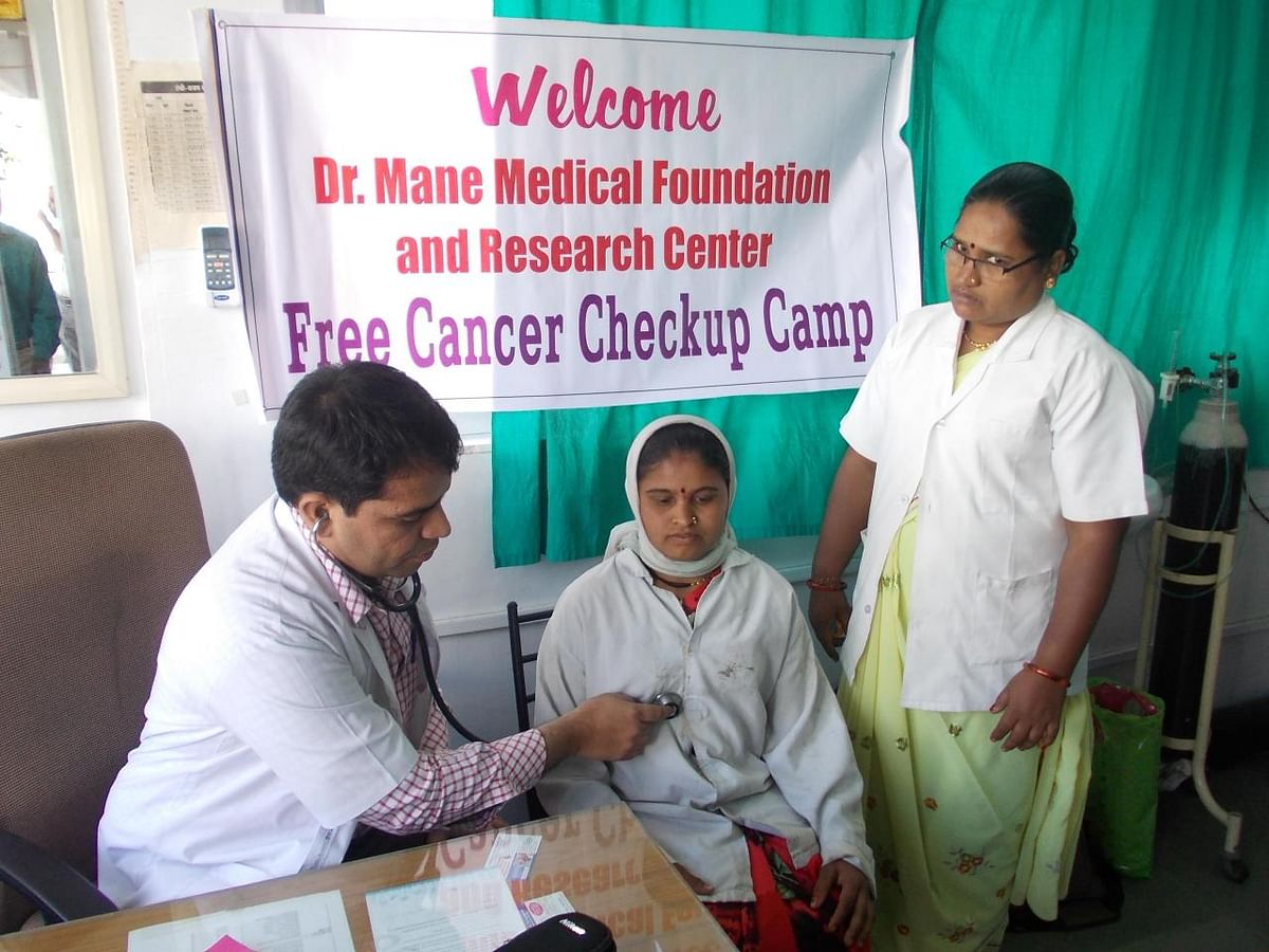 Dr Swapnil Mane at a free cancer check-up camp