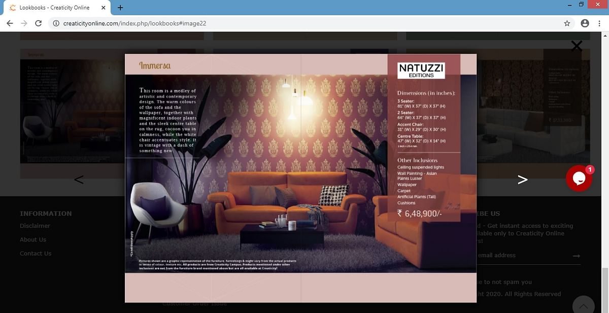 The Lookbook for furniture on Creaticity app