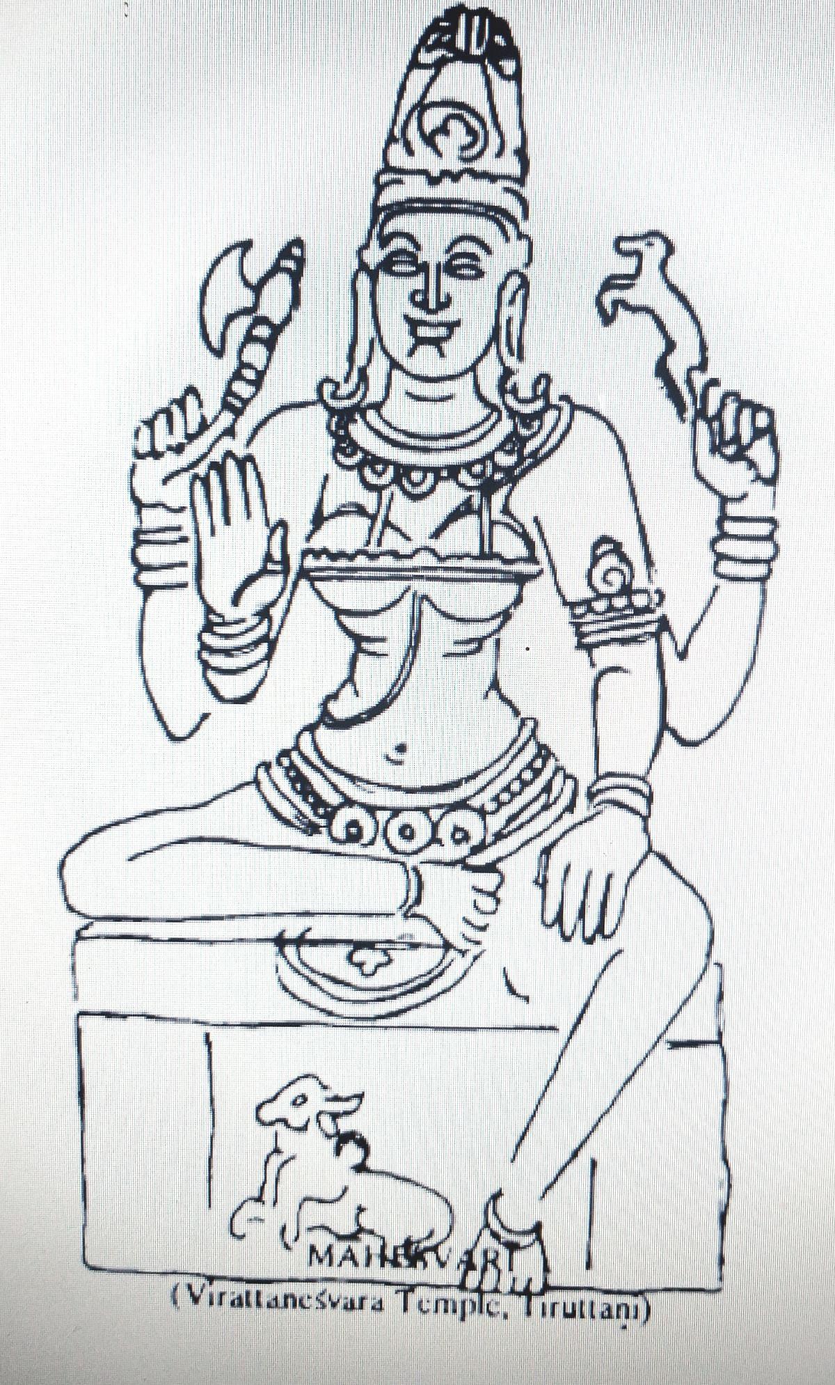 Line drawing of Goddess Maheshwari from 'Pratima Kosh'.