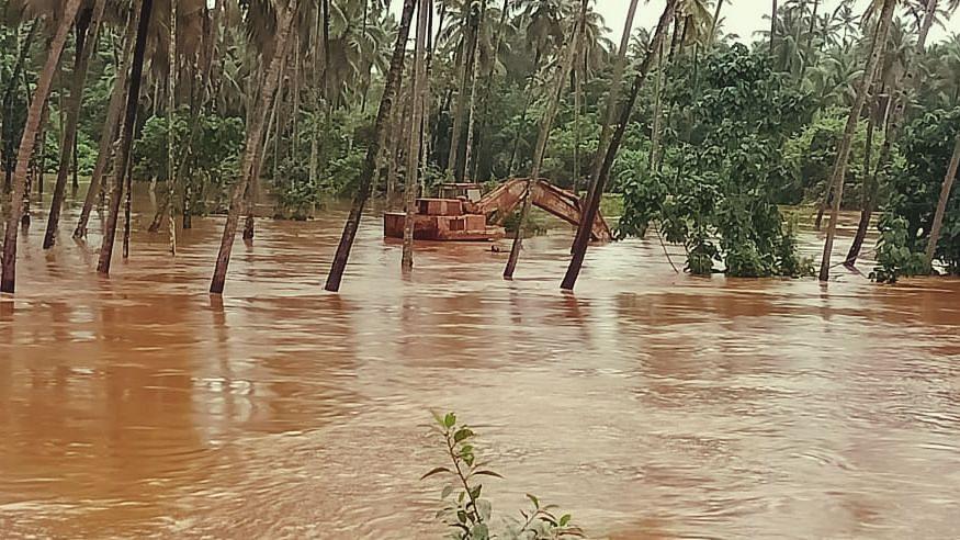 In Bicholi, the river was flooded, Goa