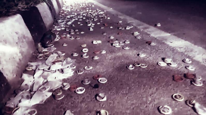 Kilometers of condoms found on National Highway near Tumkur