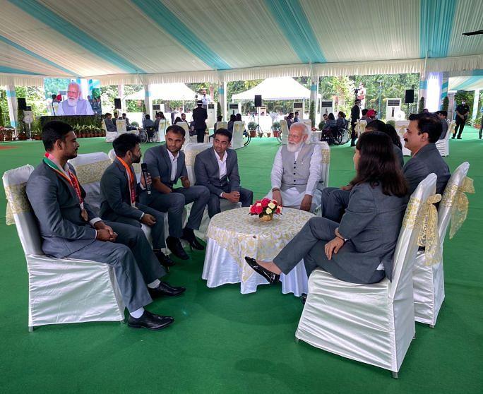 PM Modi interacting with Krishna Nagar