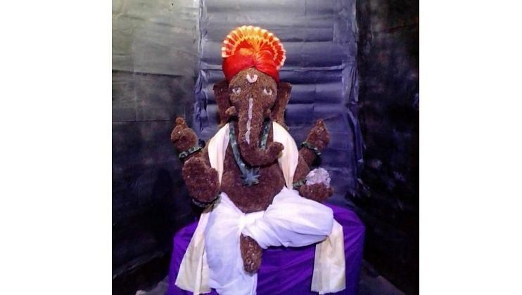 गवताच्या फुलांपासून बनवला साडेचार फुट उंचीचा Ganesha