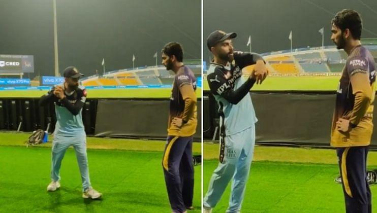 IPL 2021: सामन्यानंतर कोहली केकेआरच्या 'या' युवा खेळाडूला देतोय फलंदाजीच्या टीप्स