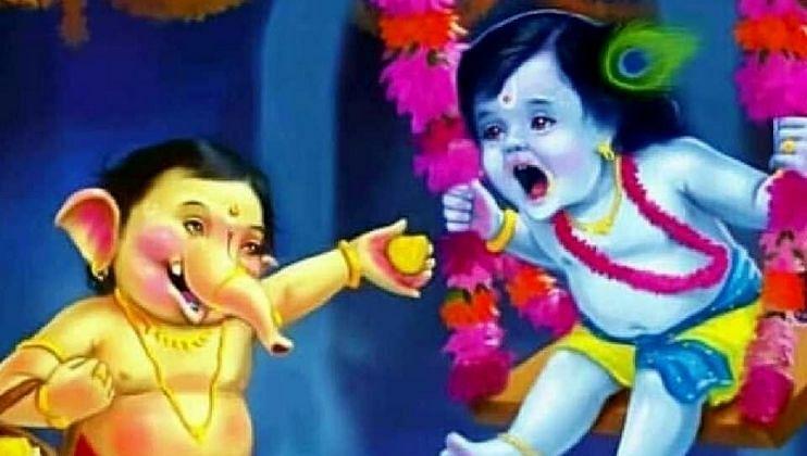 Shri Krusha And Bal Ganesha