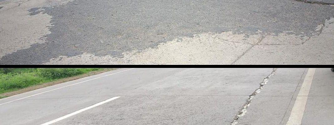 नगर - दौंड रस्त्यावरील भेगा देताय अपघातांना निमंत्रण