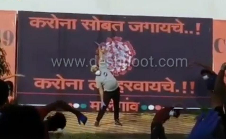 राज्याचे कृषिमंत्री जेव्हा करोनाबाधित रुग्णांसोबत योगासने करतात
