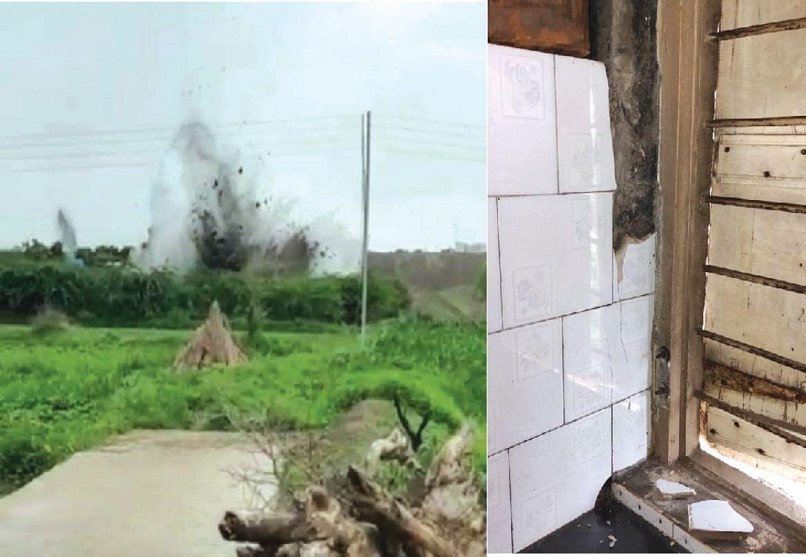 तळेगाव दिघेतील दगड खाणीतील स्फोटामुळे घरांना तडे