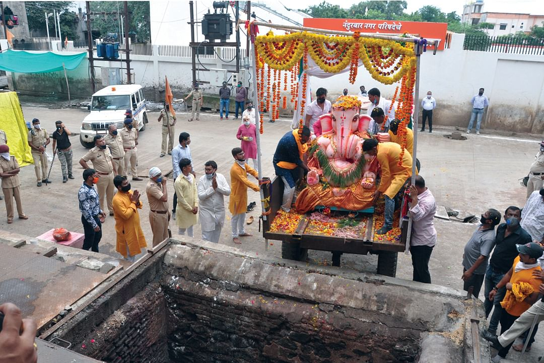 Ganeshotsav Less water pollution in city this time