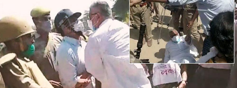 Hathras : तृणमूलच्या नेत्यांनाही उत्तर प्रदेश पोलिसांकडून धक्काबुकी, पाहा व्हिडिओ