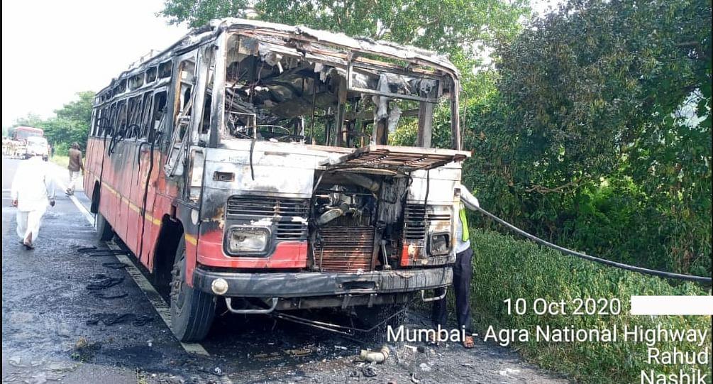 चांदवड : राहूड घाटात धावत्या बसने घेतला पेट;  २२ प्रवासी बालंबाल बचावले