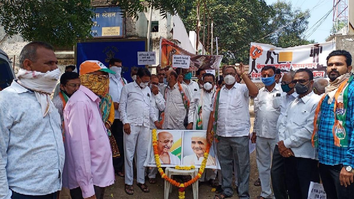 शेतकरी विरोधी कायदा मागे घेण्यासाठी काँग्रेसचे आंदोलन