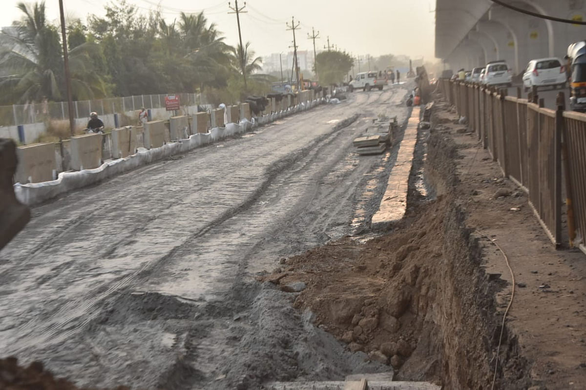 Fly ash being used in flyover construction in city