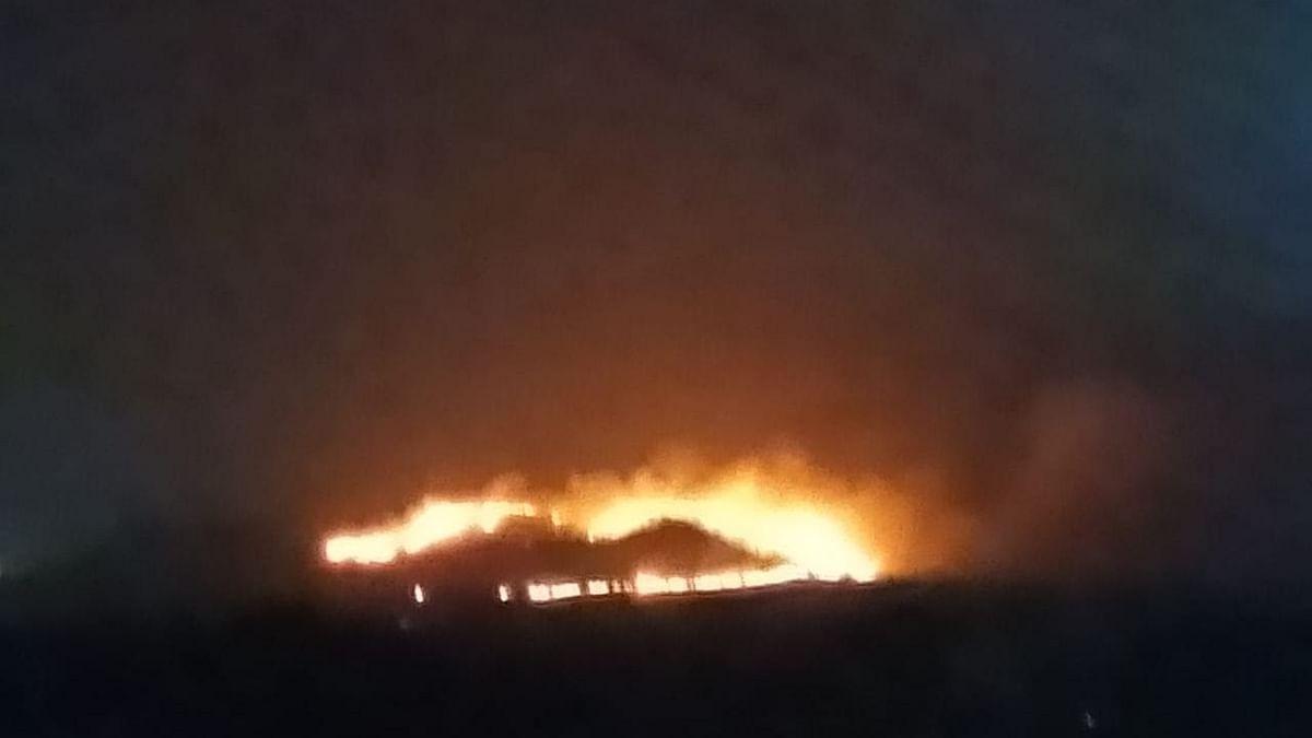 शिरसोली रस्त्यावर जंगलात आग
