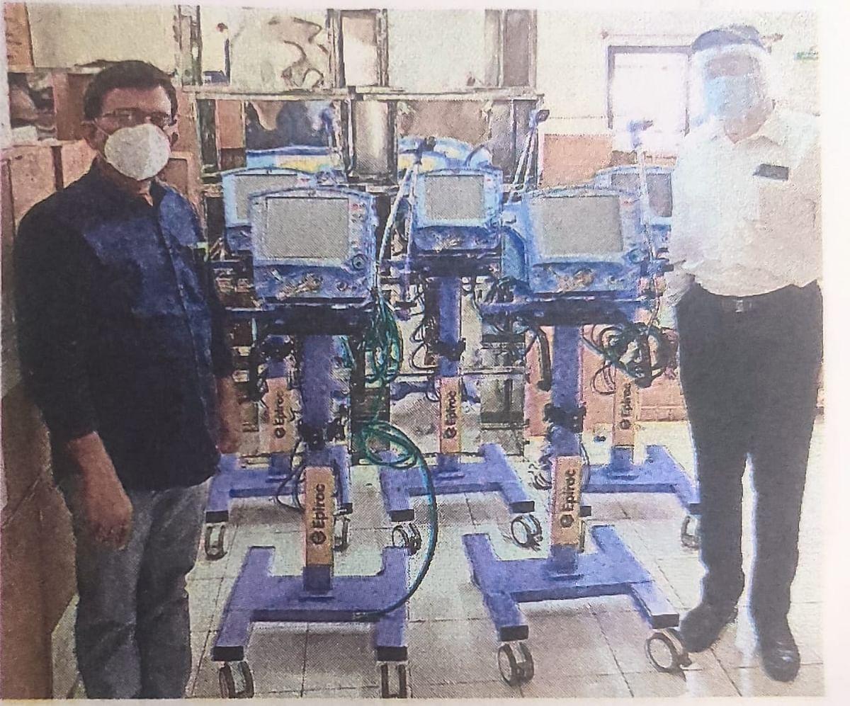एपिरॉक मायनिंग इंडिया कंपनीकडून जिल्हा रुग्णालयास पाच व्हेंटिलेटर्स
