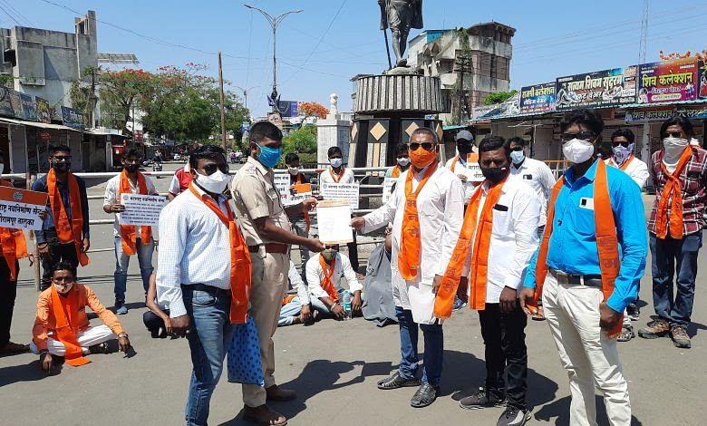 श्रीरामपुरात मनसेच्यावतीने मुंडन आंदोलन