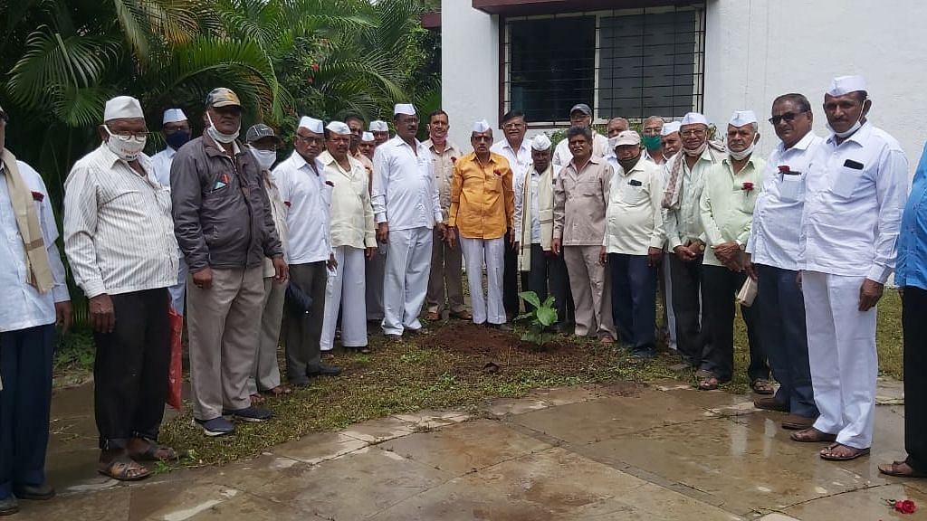 Elderly contributing for tree plantation