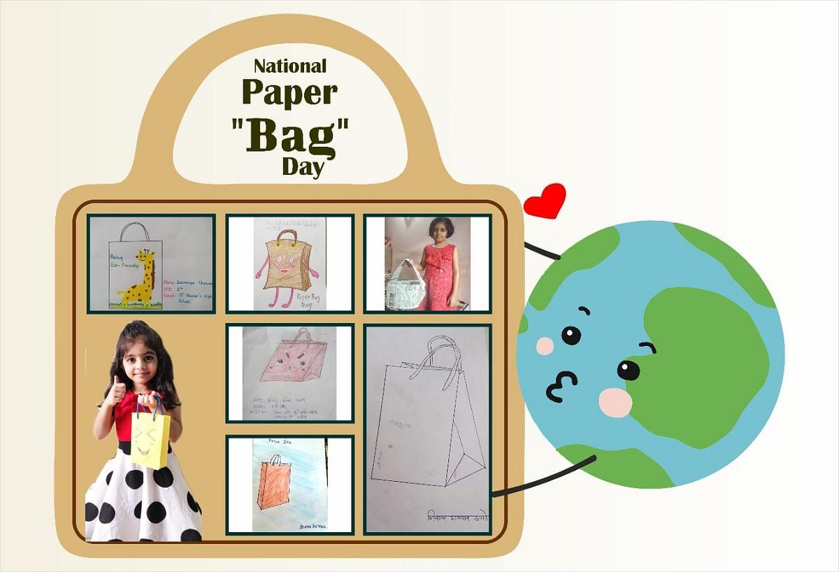 PhotoGallery : काका पेपर बॅग वापरा! चिमुकल्यांची चित्रांद्वारे जनजागृती