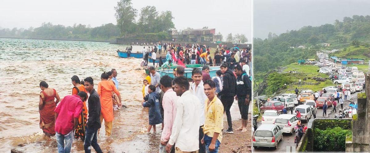 भंडारदरा व परिसरात स्वातंत्र्य दिनी पर्यटकांची मोठी गर्दी, रस्ते गर्दीने फुलले