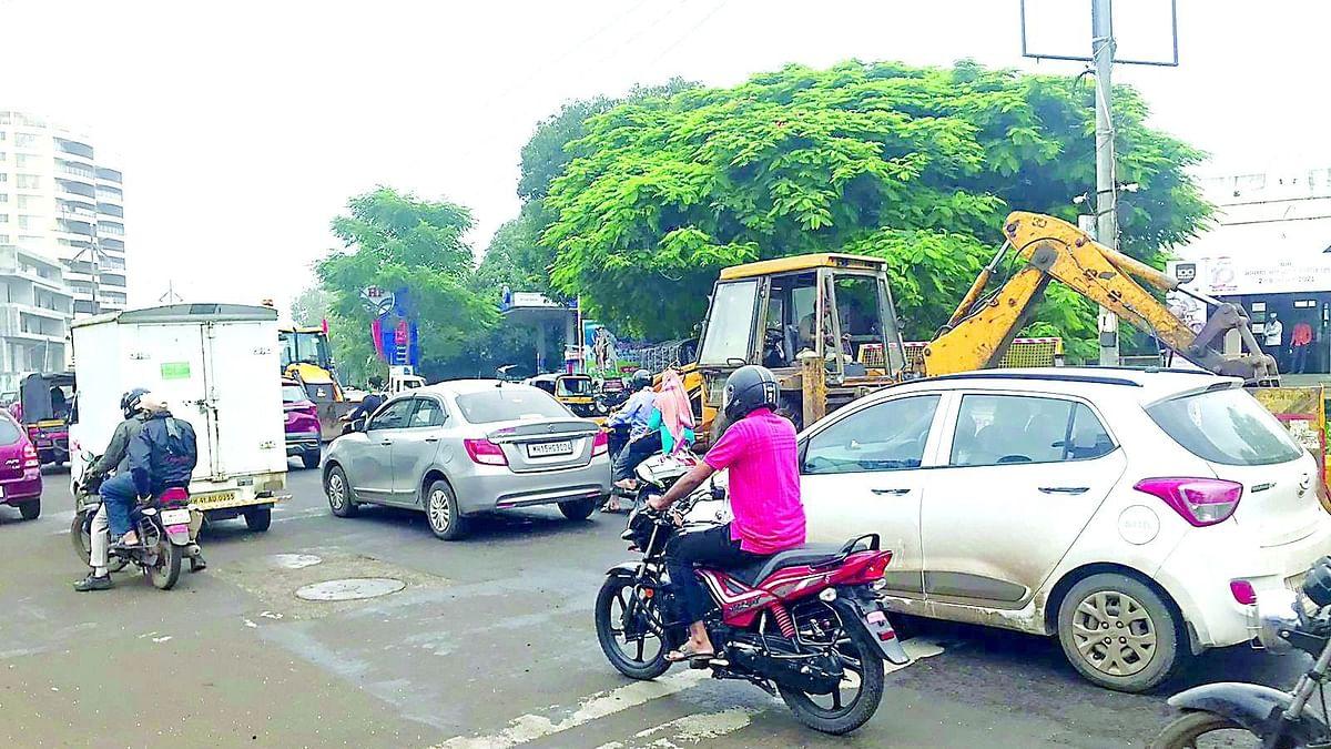 Soil testing work leading to traffic jams