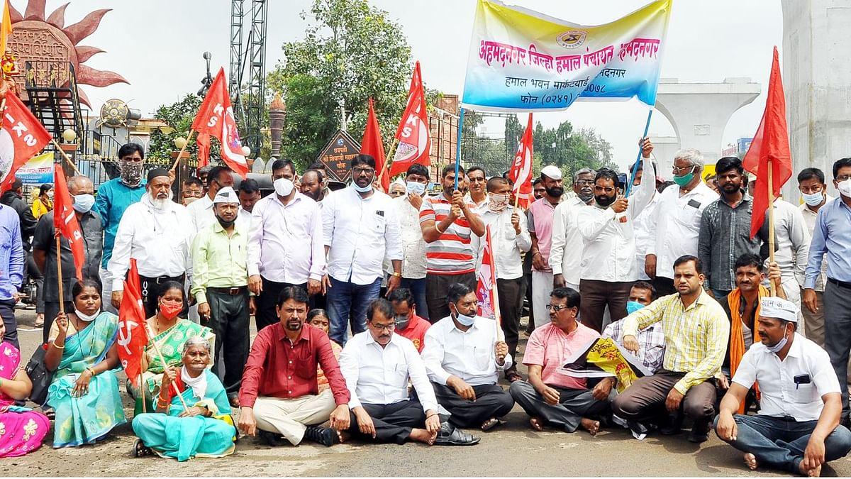 किसान-कामगारांचा रास्ता रोको