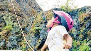 Little girl climbs Navra-Navri fort