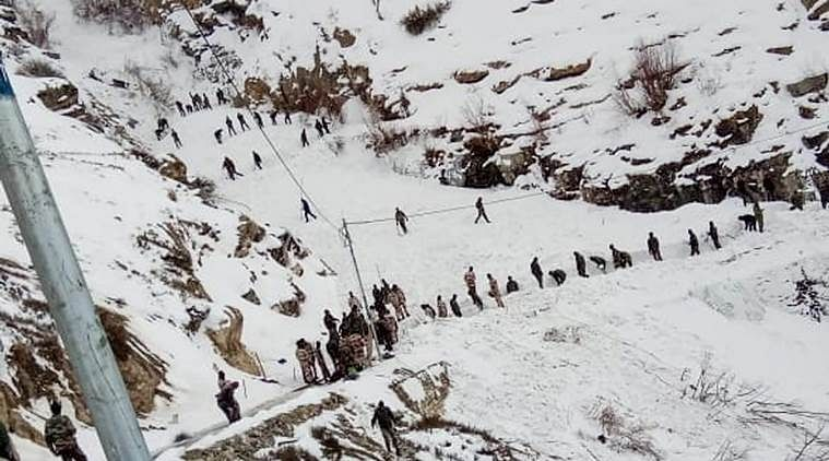**BEST QUALITY AVAILABLE** Kinnaur: Rescue officials conduct operation after five jawans were trapped in snow due to avalanche, in Namgya region of Kinnaur, Wednesday, Feb 20, 2019. (PTI Photo) (PTI2_20_2019_000206B)