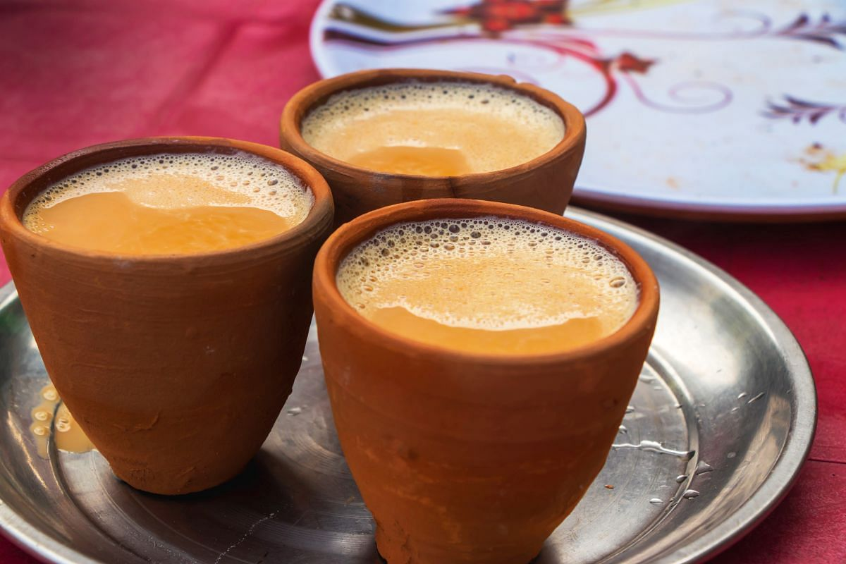 tea served in a traditional mud cup in India