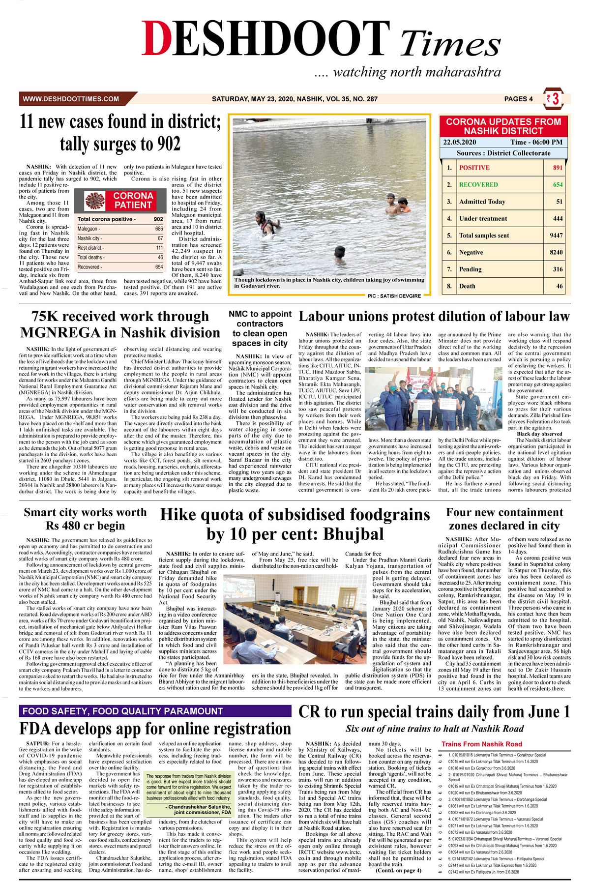 Deshdoot Times E-Paper (Date : 23rd May 2020)