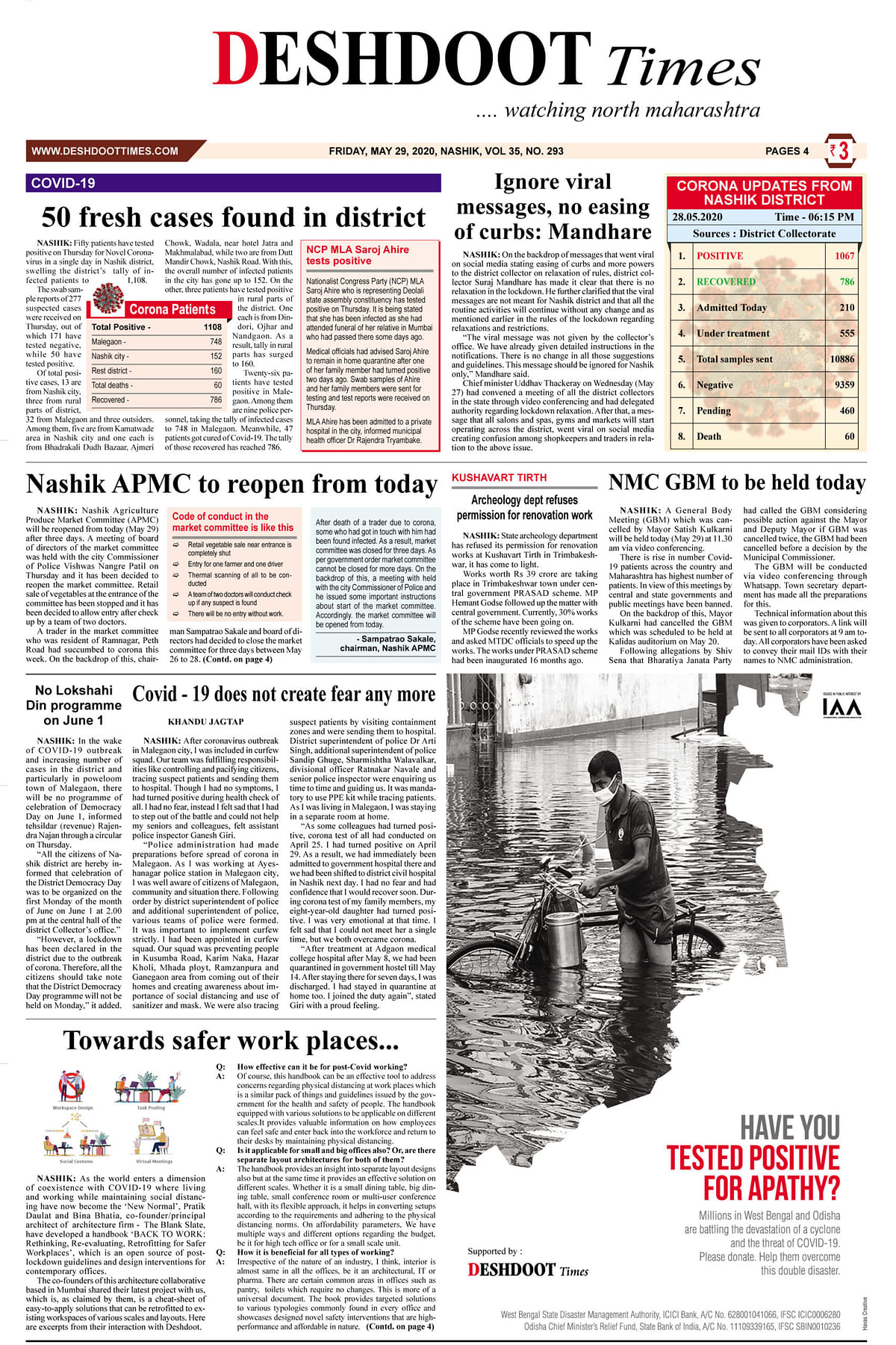 Deshdoot Times E-Paper Dt 29 May 2020