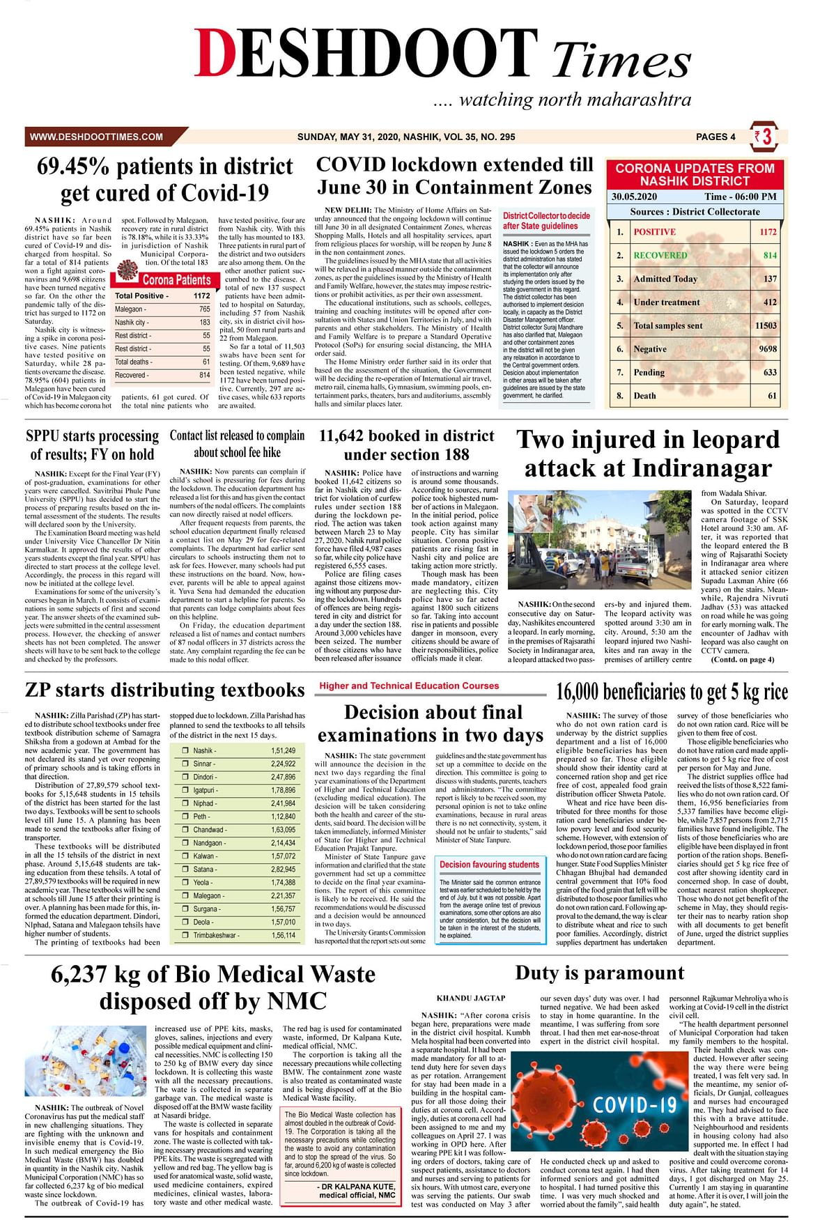 Deshdoot Times E-Paper, 31 May 2020