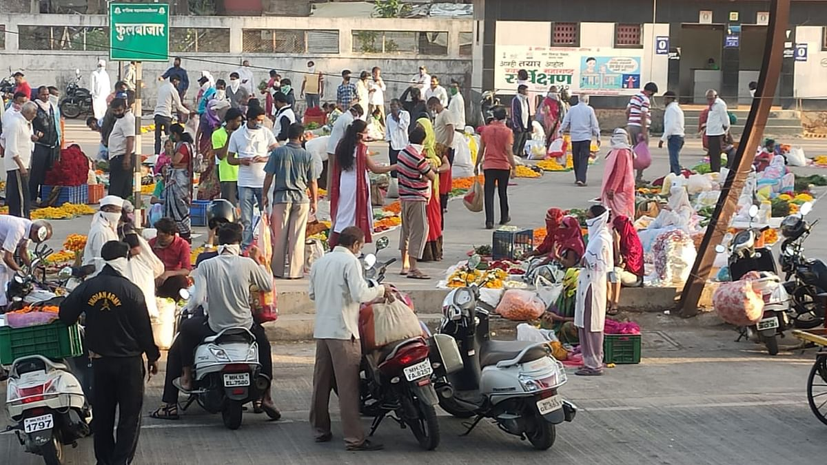 पंचवटी : गणेशवाडीत सोशल डिस्टसिंगचा फज्जा; फुले, भाजी खरेदीसाठी गर्दी