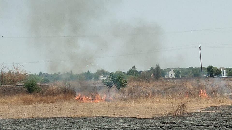 राहुरी फॅक्टरीवरील पेट्रोल पंपाजवळ आग