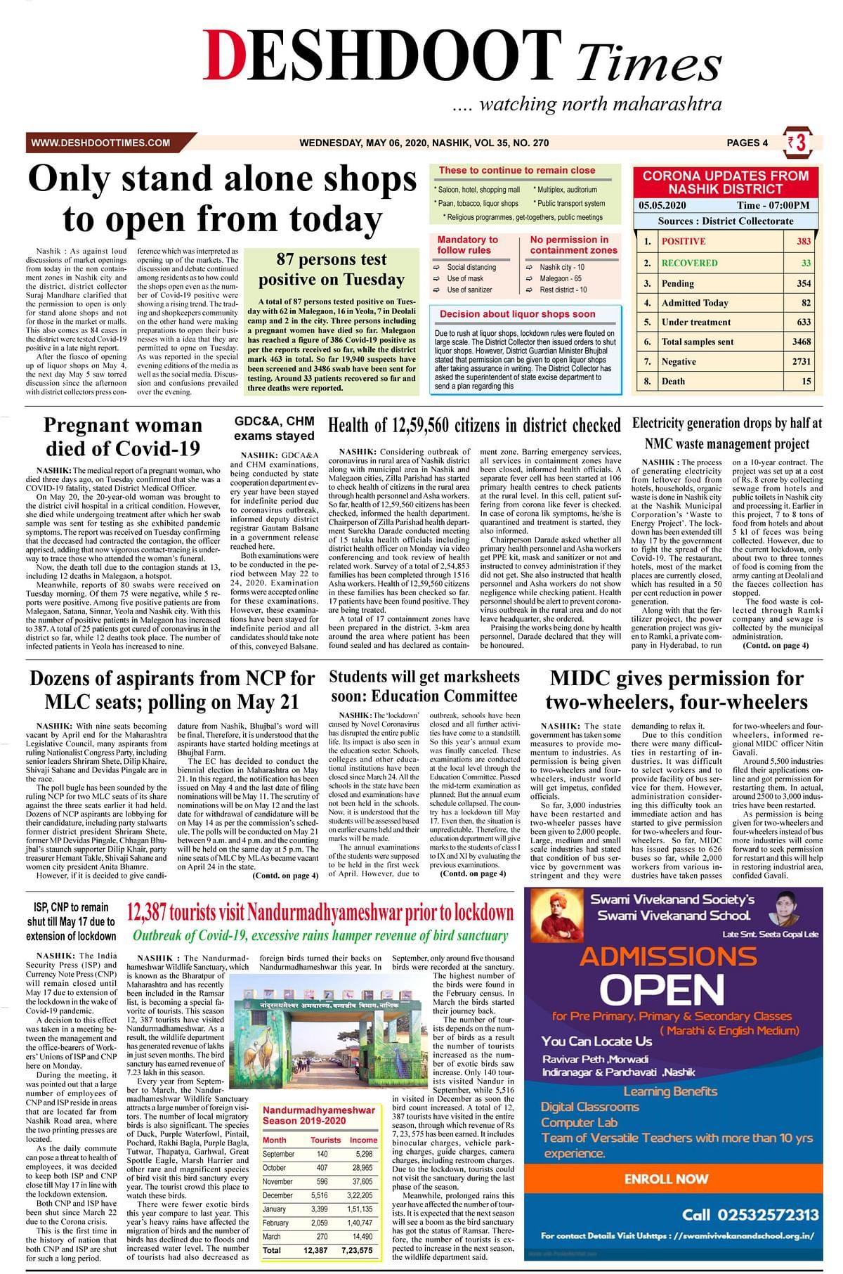 Deshdoot Times e paper, 06 May 2020
