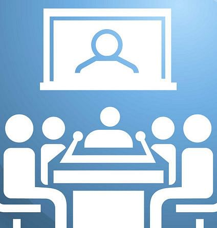 Video conference icon. Simple illustration of video conference vector icon for web design isolated on white background