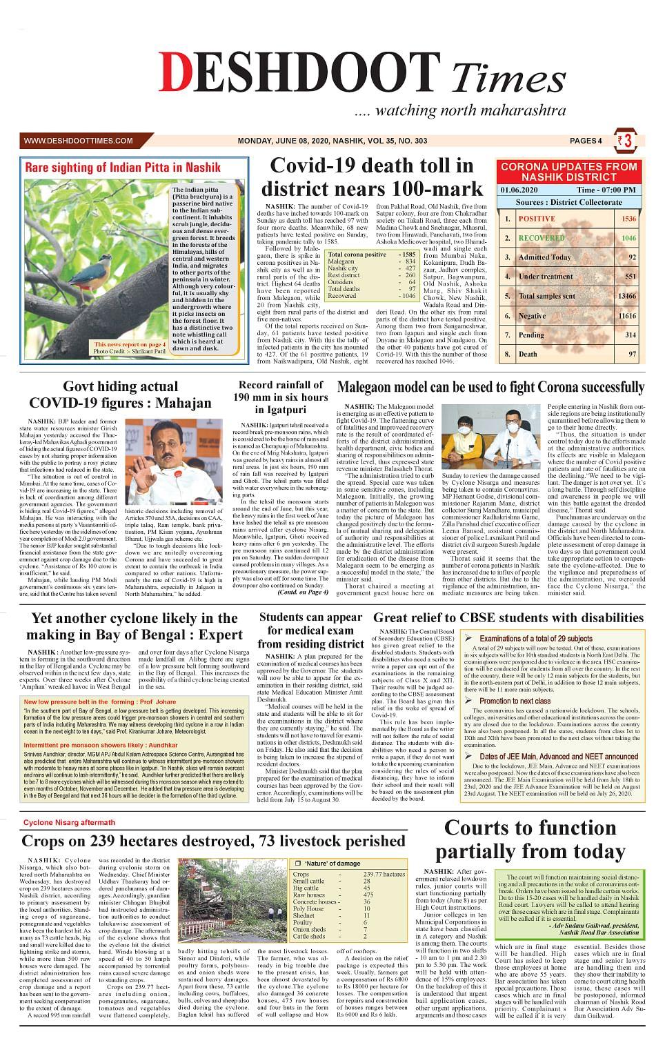 Deshdoot Times e paper, 08 June 2020