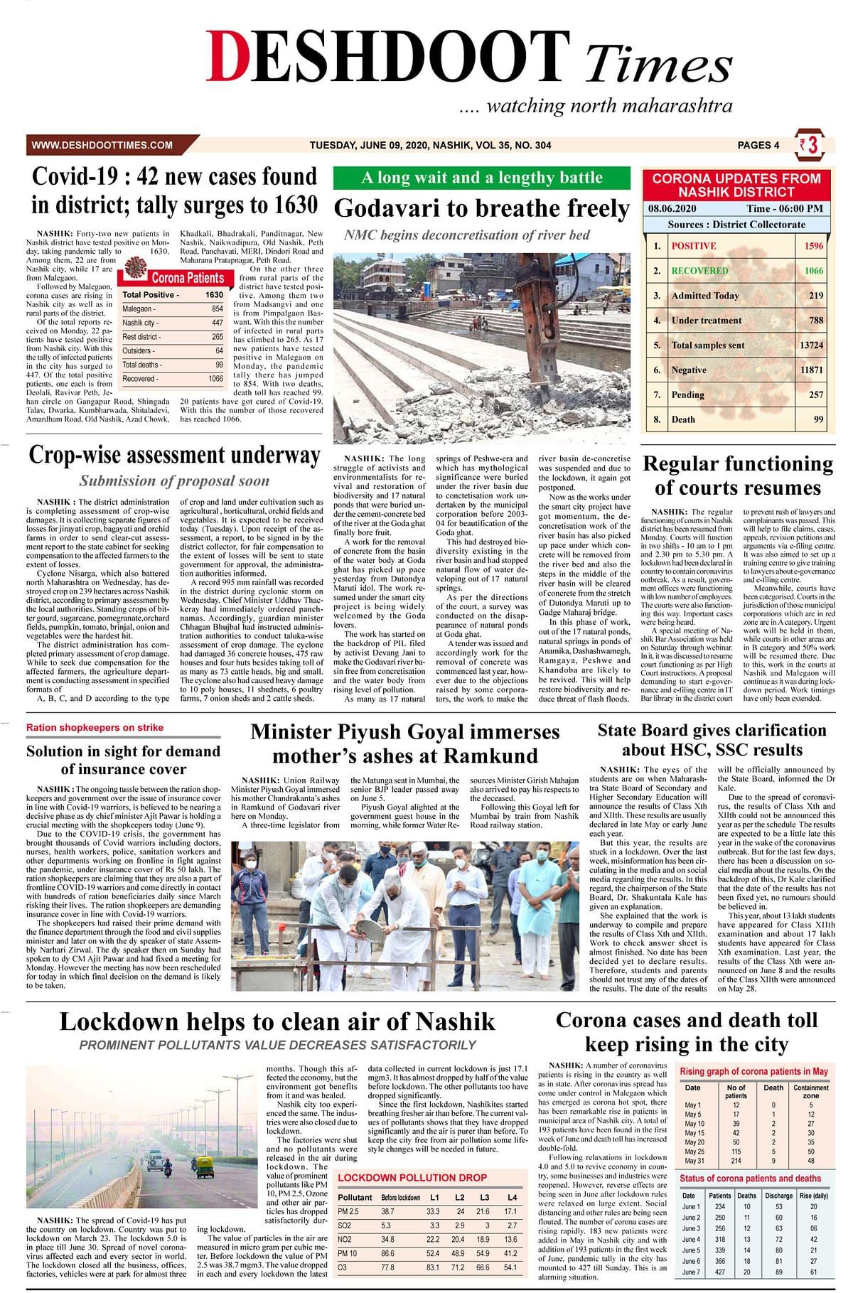 Deshdoot Times e paper, 09 June 2020