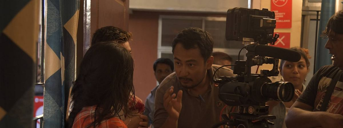 Actor-writer-director Kenny Deori Basumatary during the shooting of his new movie, Suspended Inspector Bodo