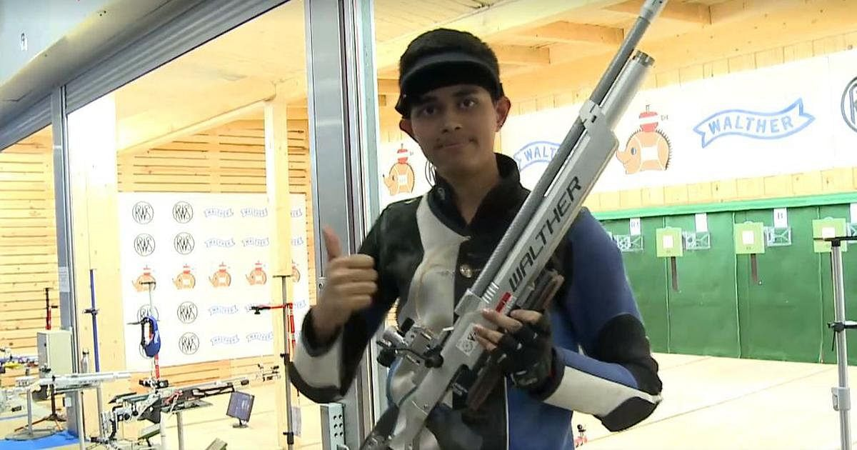 Hriday Hazarika, the 17-year-old shooter from Assam during the ISSF World Championship being held in Changwon, Korea