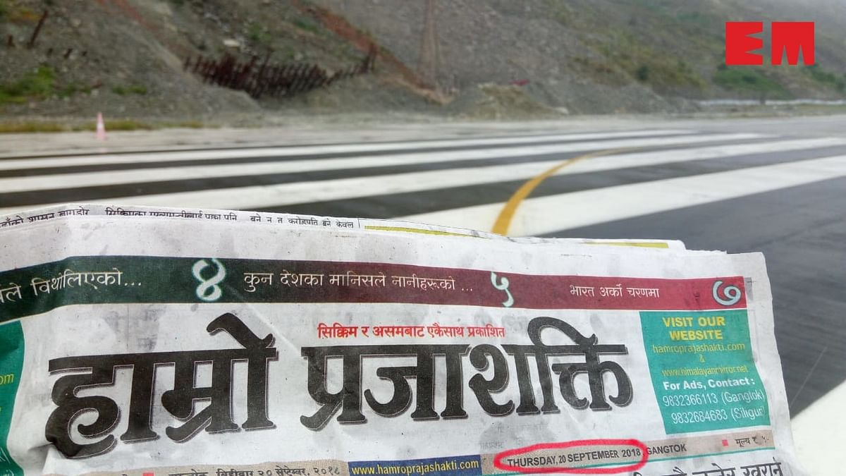 Another stretch of the runway at Pakyong Airport, as seen on Thursday (please note the date on the newspaper)