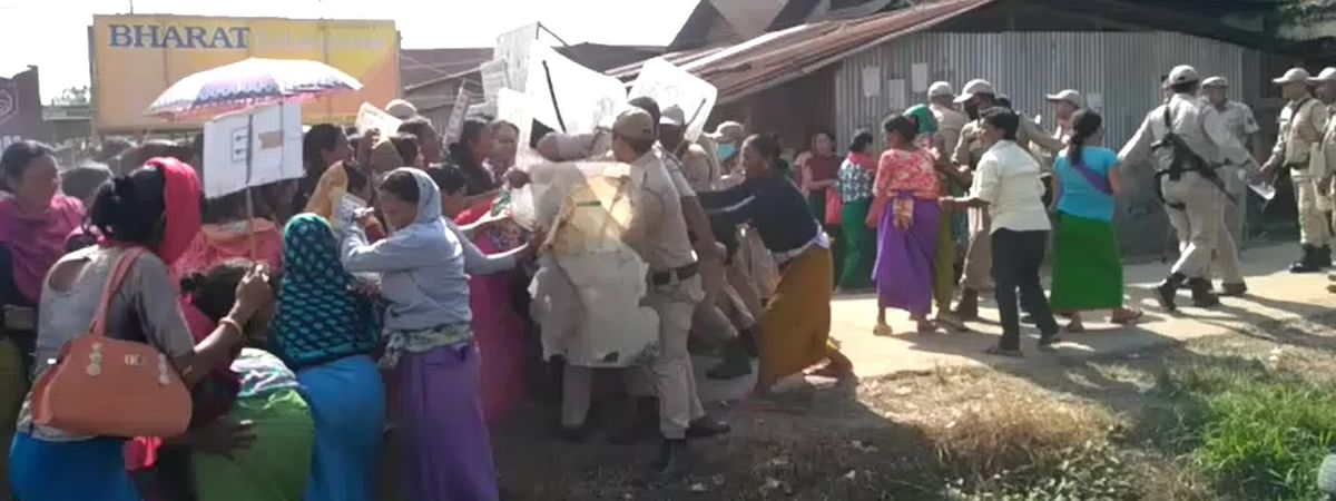 Irate locals stormed a police station in Imphal demanding release of six persons, who were arrested on charges of lynching a suspected vehicle thief
