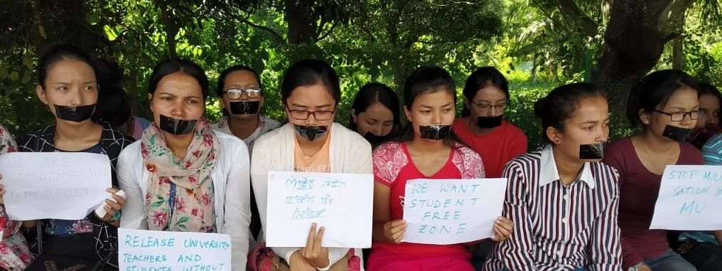 Students stage protest demanding removal of Prof AP Pandey as VC of Manipur University
