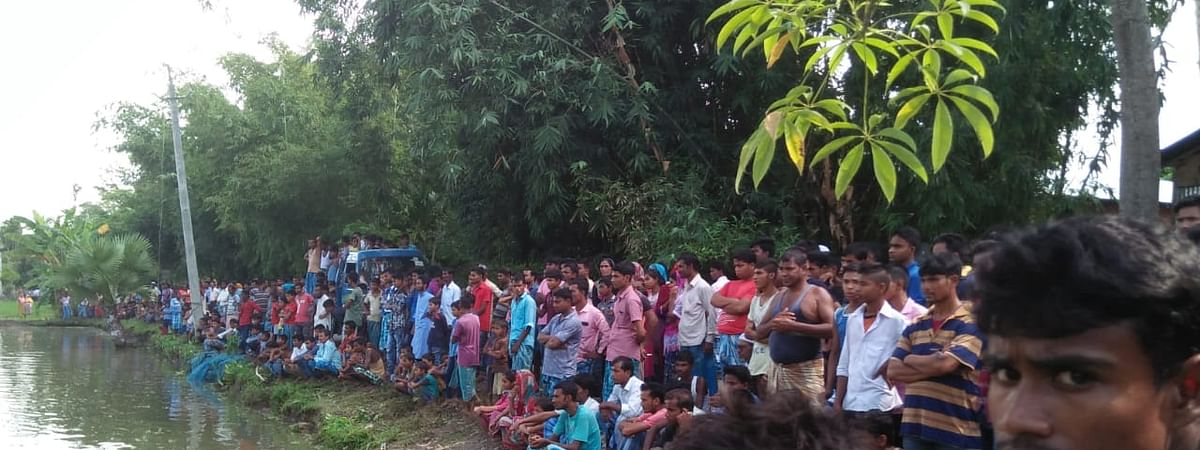 The pond in Nagaon, Assam, where six people lost their lives due to electrocution on Friday morning