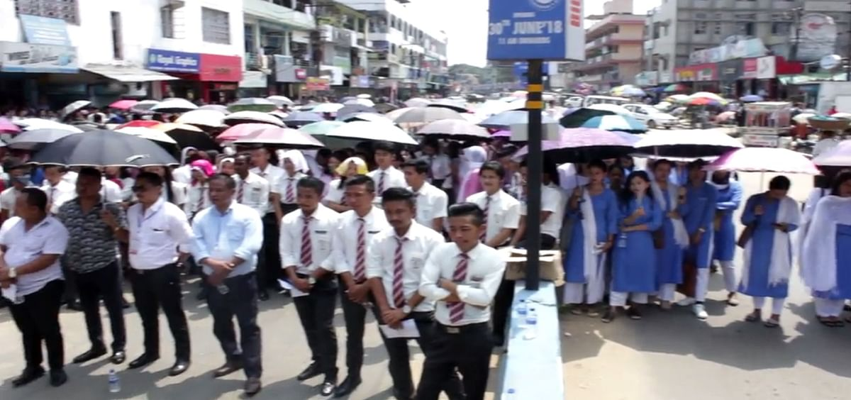 Students in large numbers took part in the rally at Dimapur on Friday.