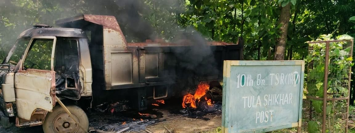 The tipper truck that was set on fire by an angry mob in Khowai town of west Tripura